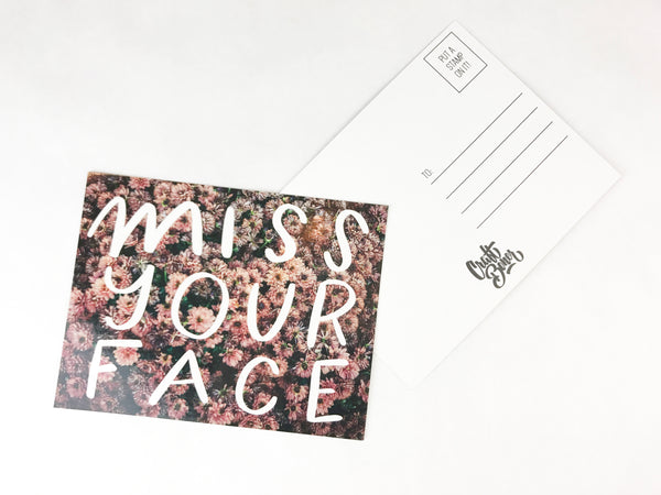 Miss your face postcard - Craft Boner