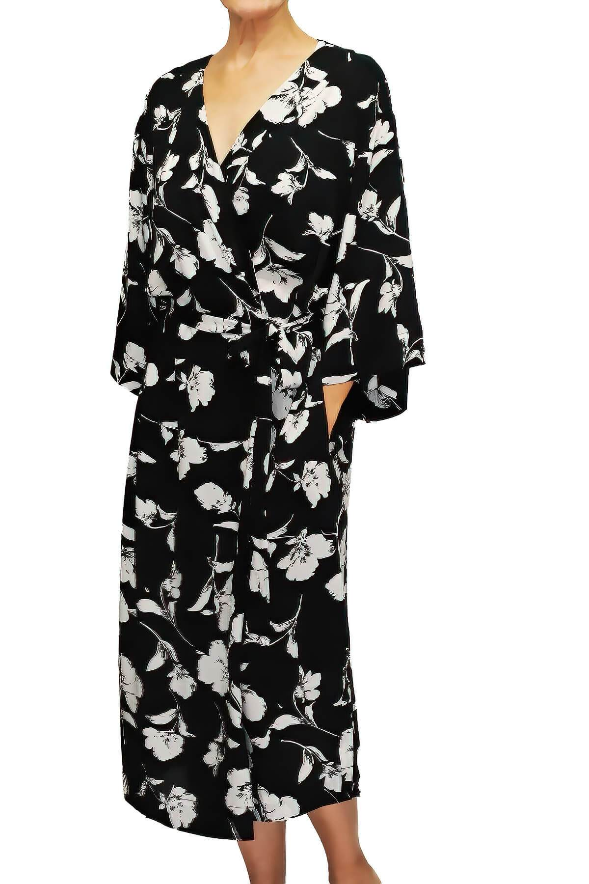 Long Black Floral Print Robe Mystique Intimates