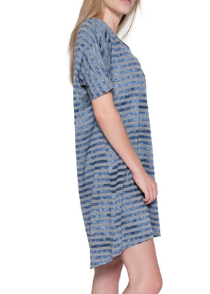 Artire Chambray Stripe Nightshirt Side Vew #2351