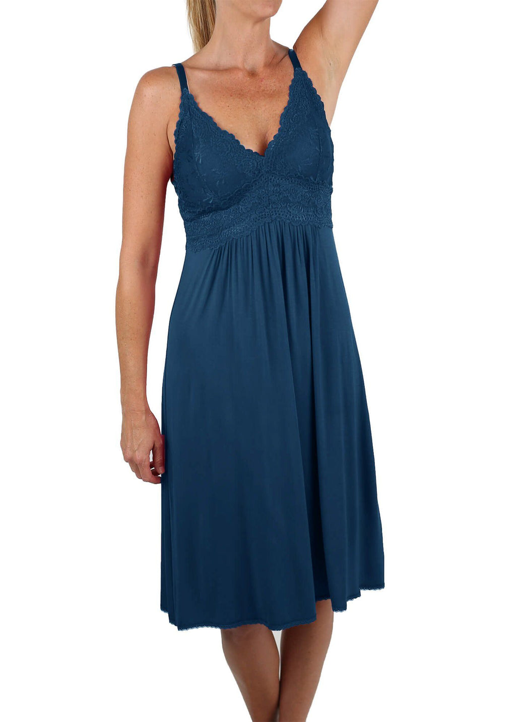 Bliss Knit Nightgown - Cadet Blue Mystique Intimates