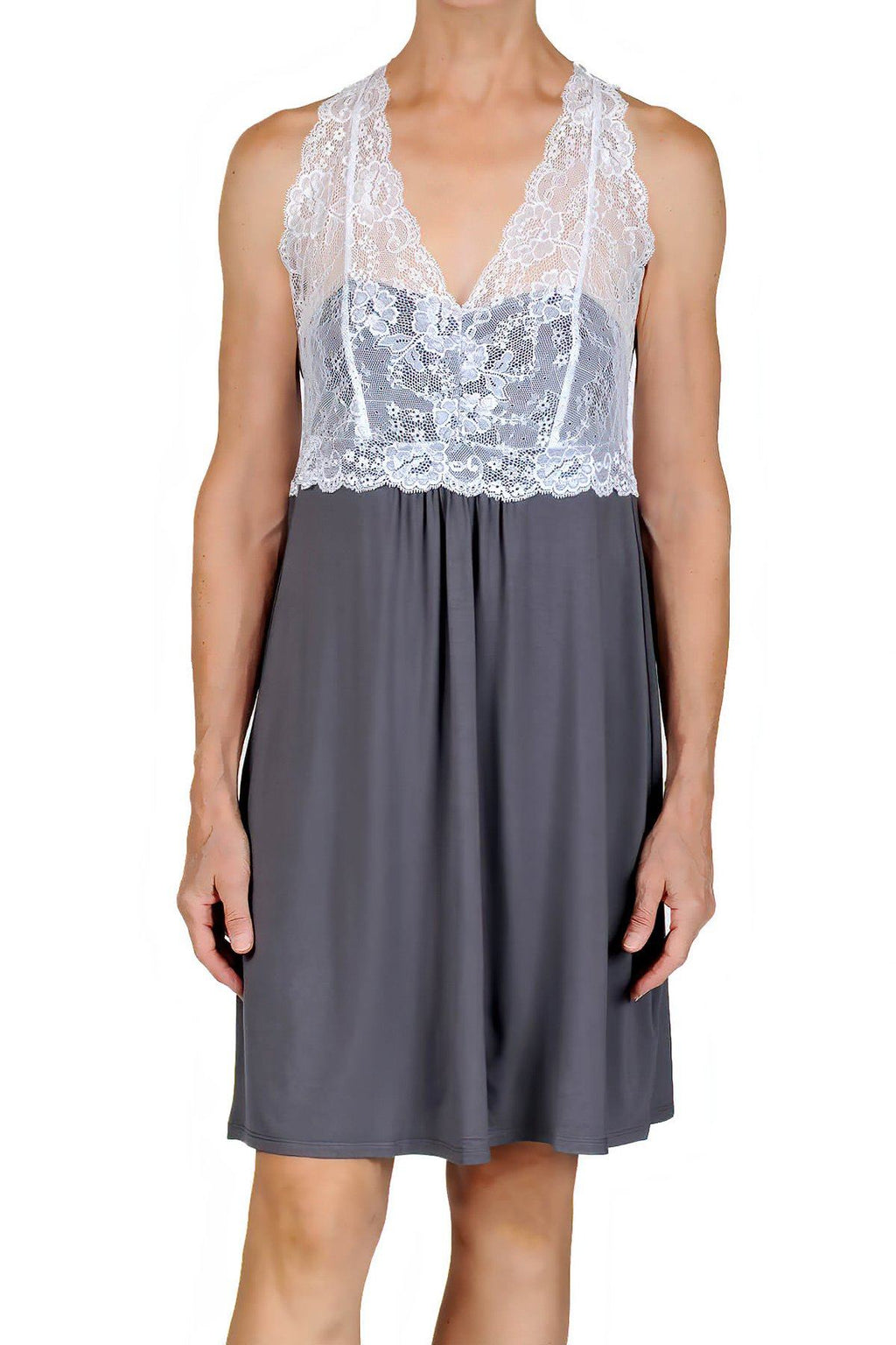 Catarina Knit Chemise Nightgown - Charcoal with White Lace Mystique Intimates