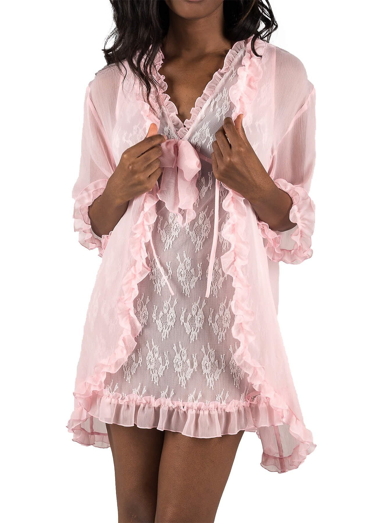 Chantilly Short Nightgown and Cover Up - Ice Pink Mystique Intimates