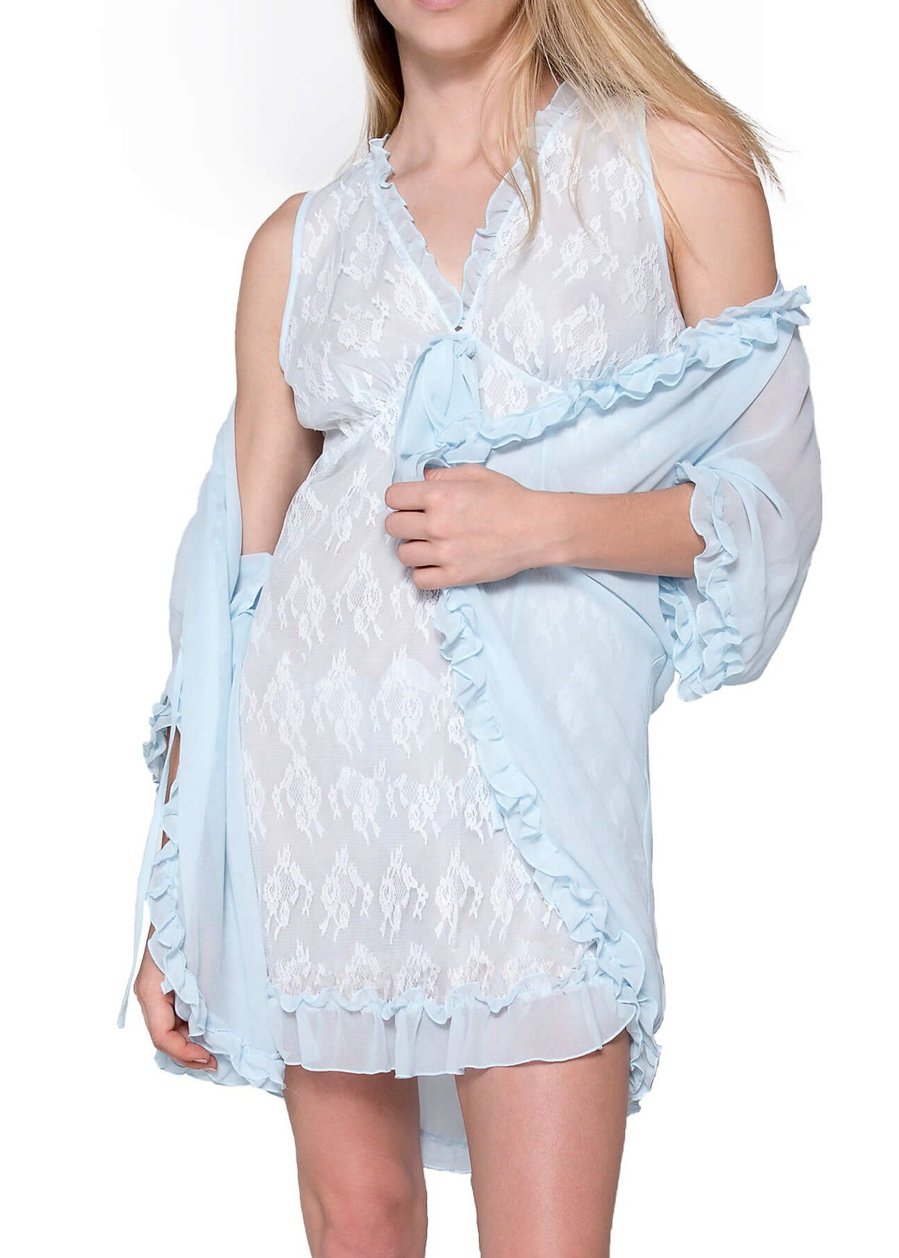 Chantilly Short Nightgown and Cover Up - Cloud Blue Mystique Intimates
