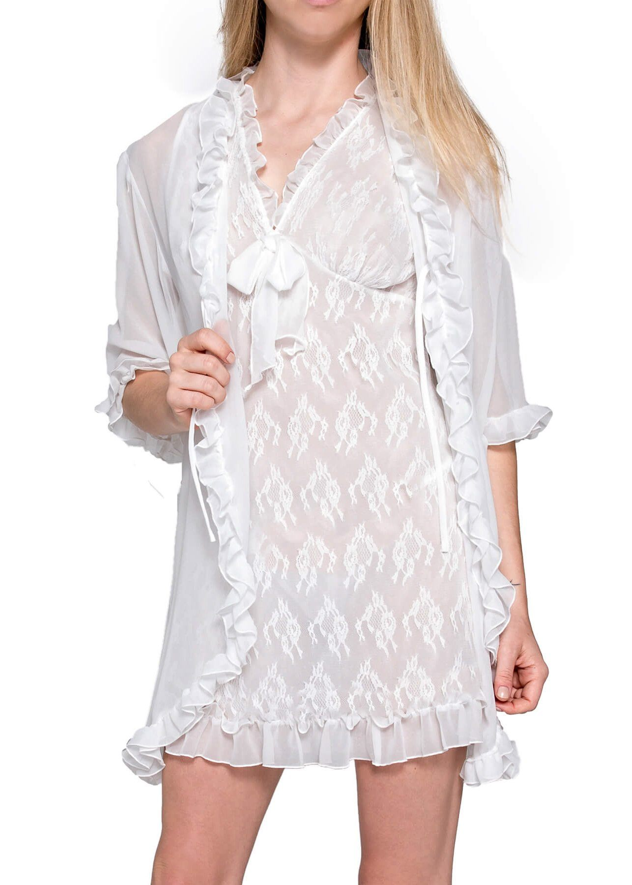 Chantilly Short Nightgown and Cover Up - White Mystique Intimates