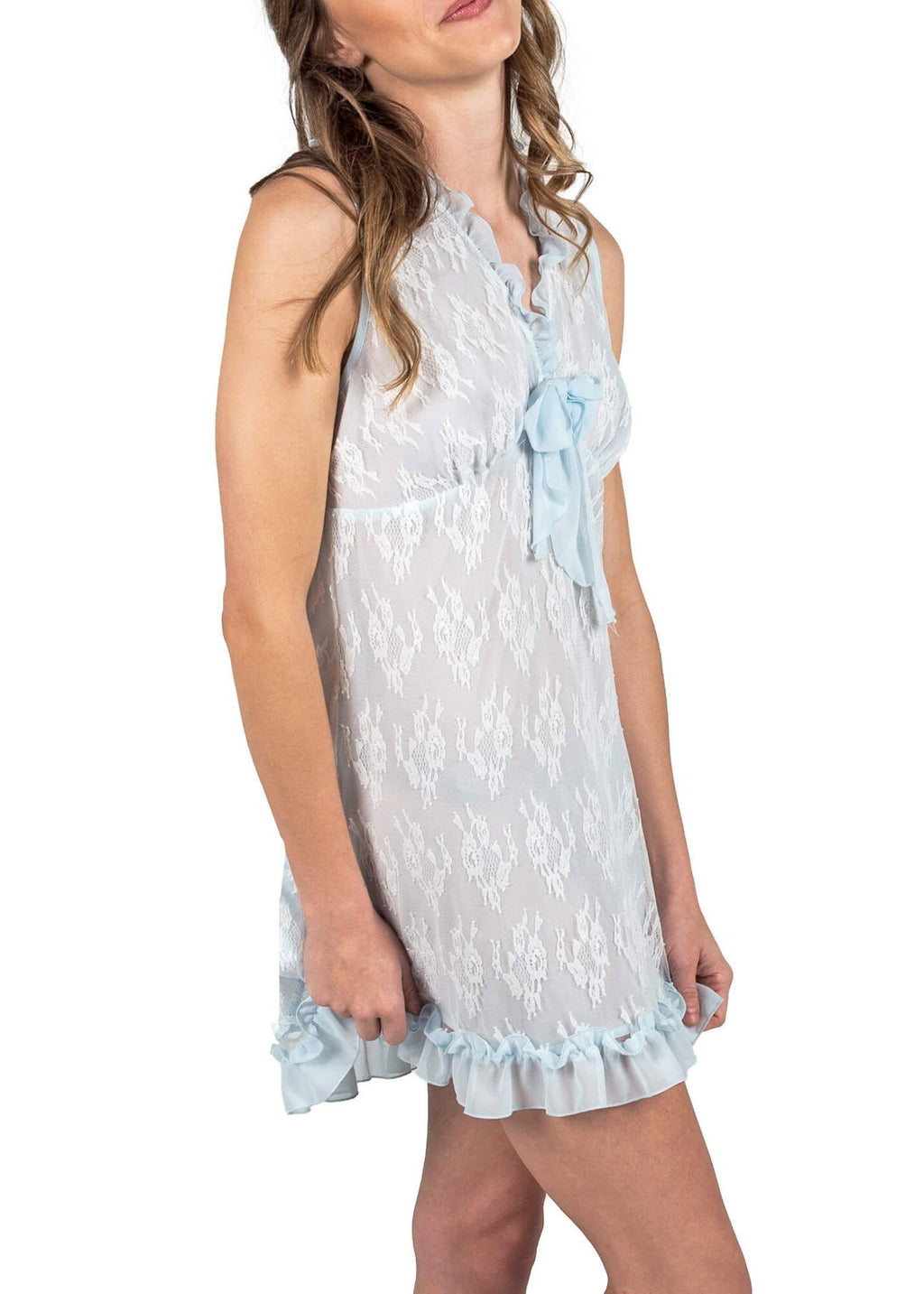 Chantilly Short Nightgown - Cloud Blue Mystique Intimates