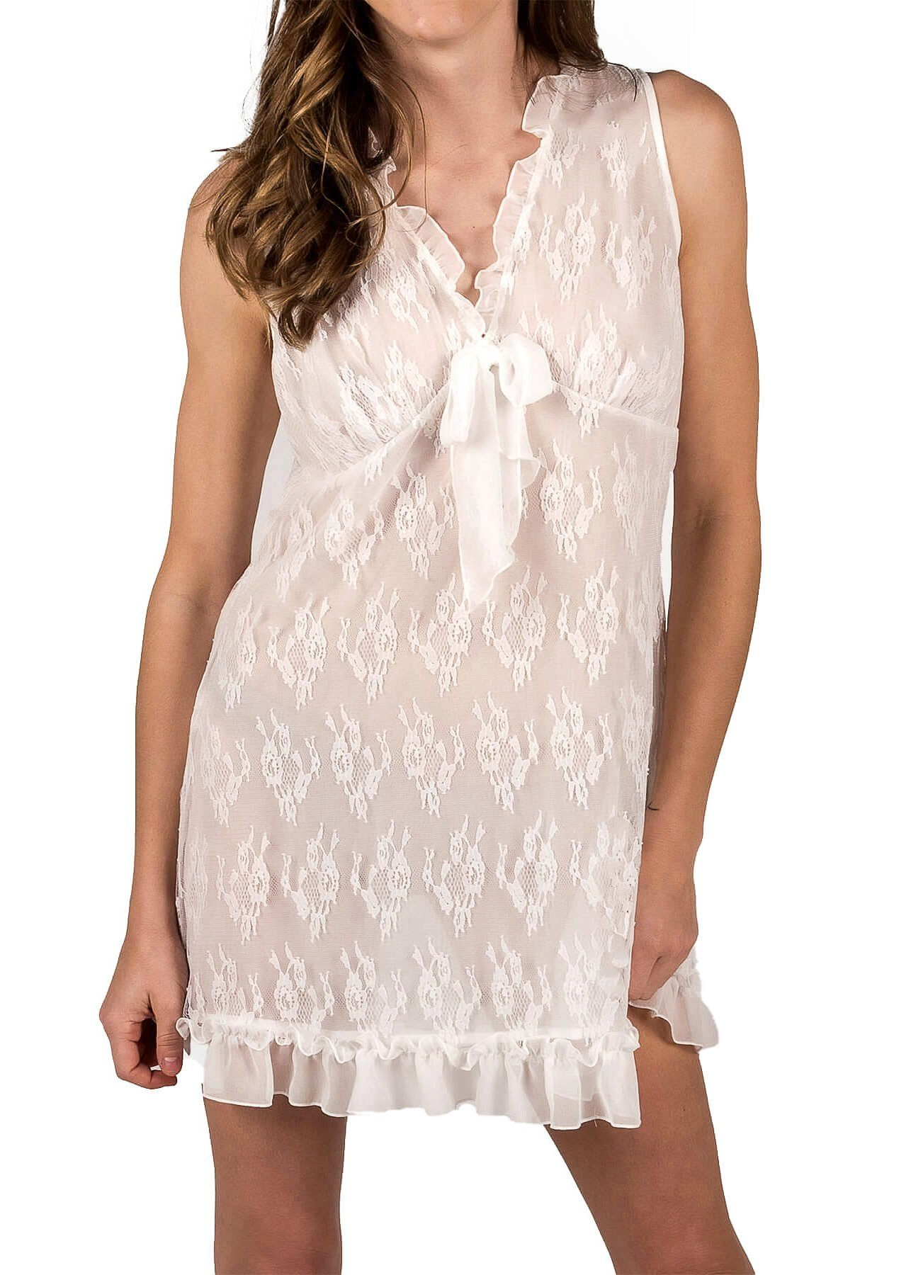 Chantilly Short Nightgown - White Mystique Intimates