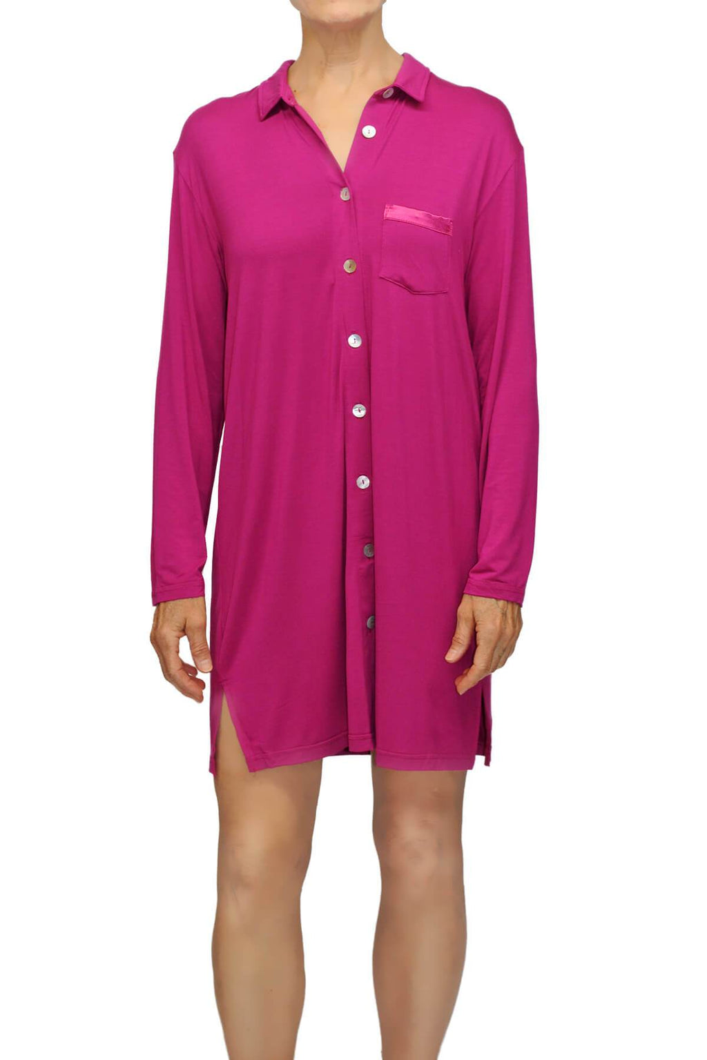 Megan Knit Lounge Shirt - Burgundy Mystique Intimates