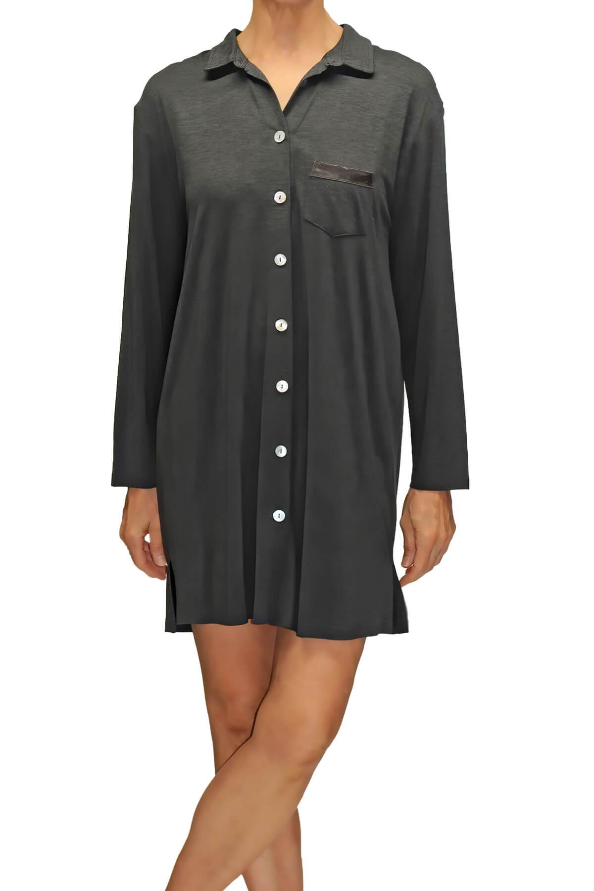 Megan Lounge Shirt - Charcoal Gray Mystique Intimates