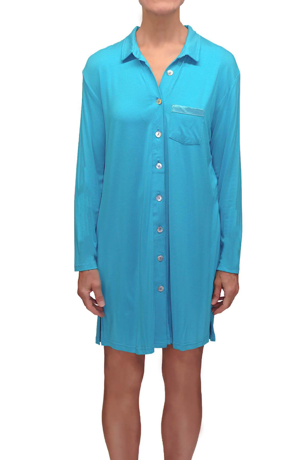 Megan Knit Lounge Shirt - Malta Blue Mystique Intimates