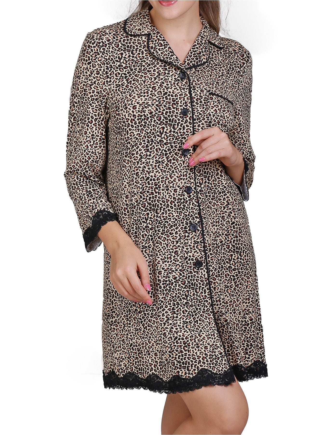 Leopard Print Sleepshirt with Lace Trim Mystique Intimates