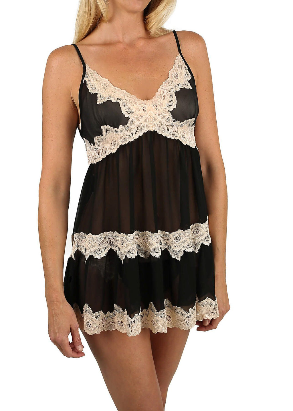 Sophie Chemise with Thong - Black Mystique Intimates