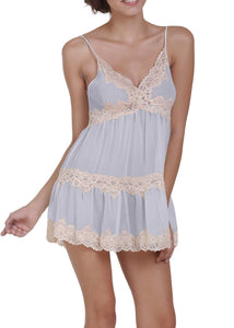 Sophie Chiffon Chemise with Ecru Lace - Cloud Blue Mystique Intimates