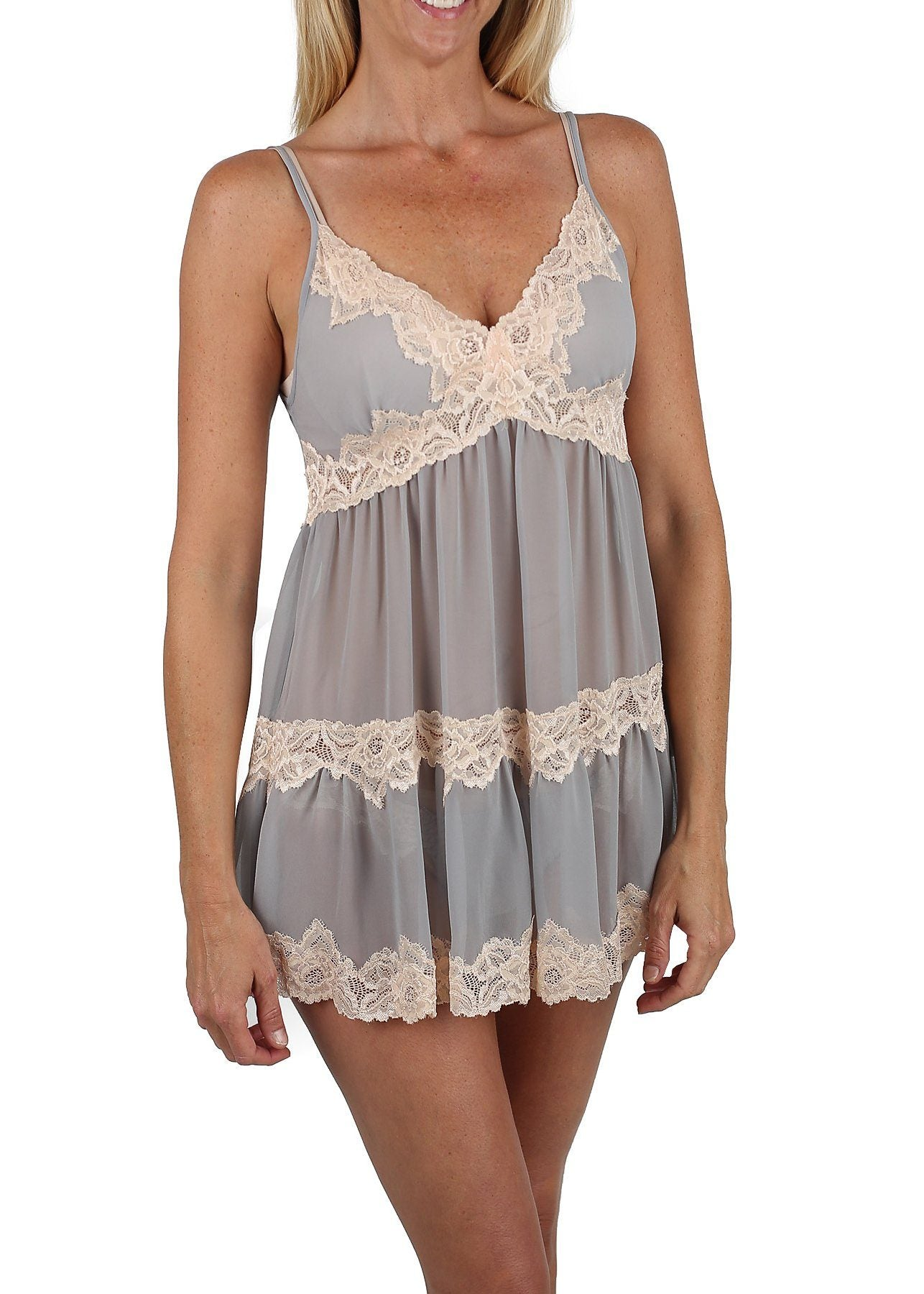 Sophie Babydoll Chemise #16804 in Gray with Ecru Lace