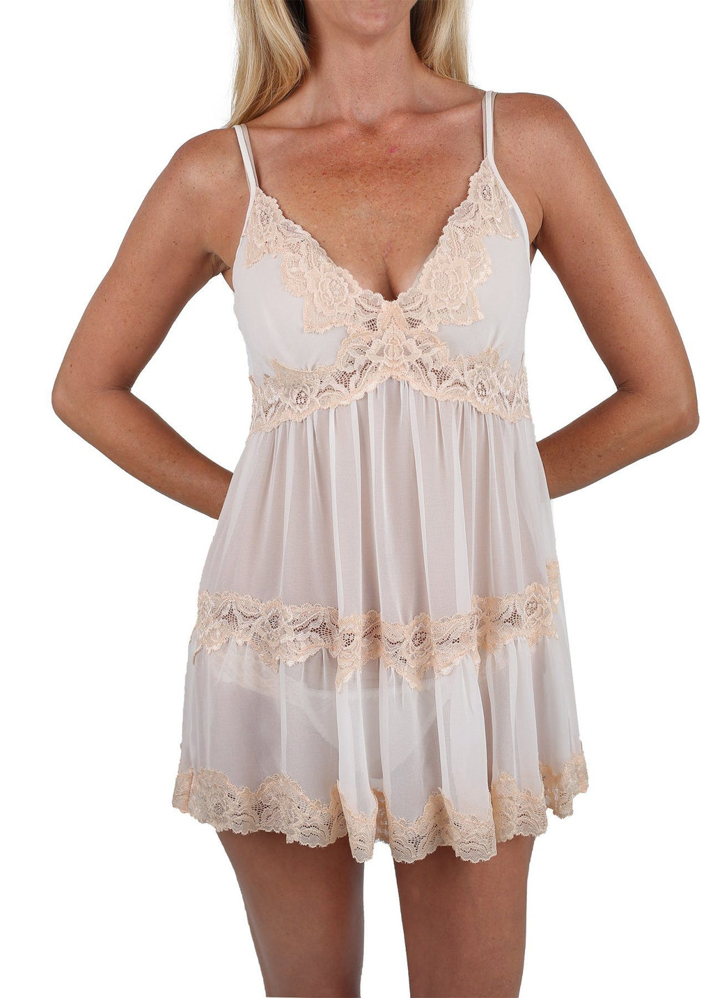 Sophie Babydoll Chemise - Pearl White Mystique Intimates
