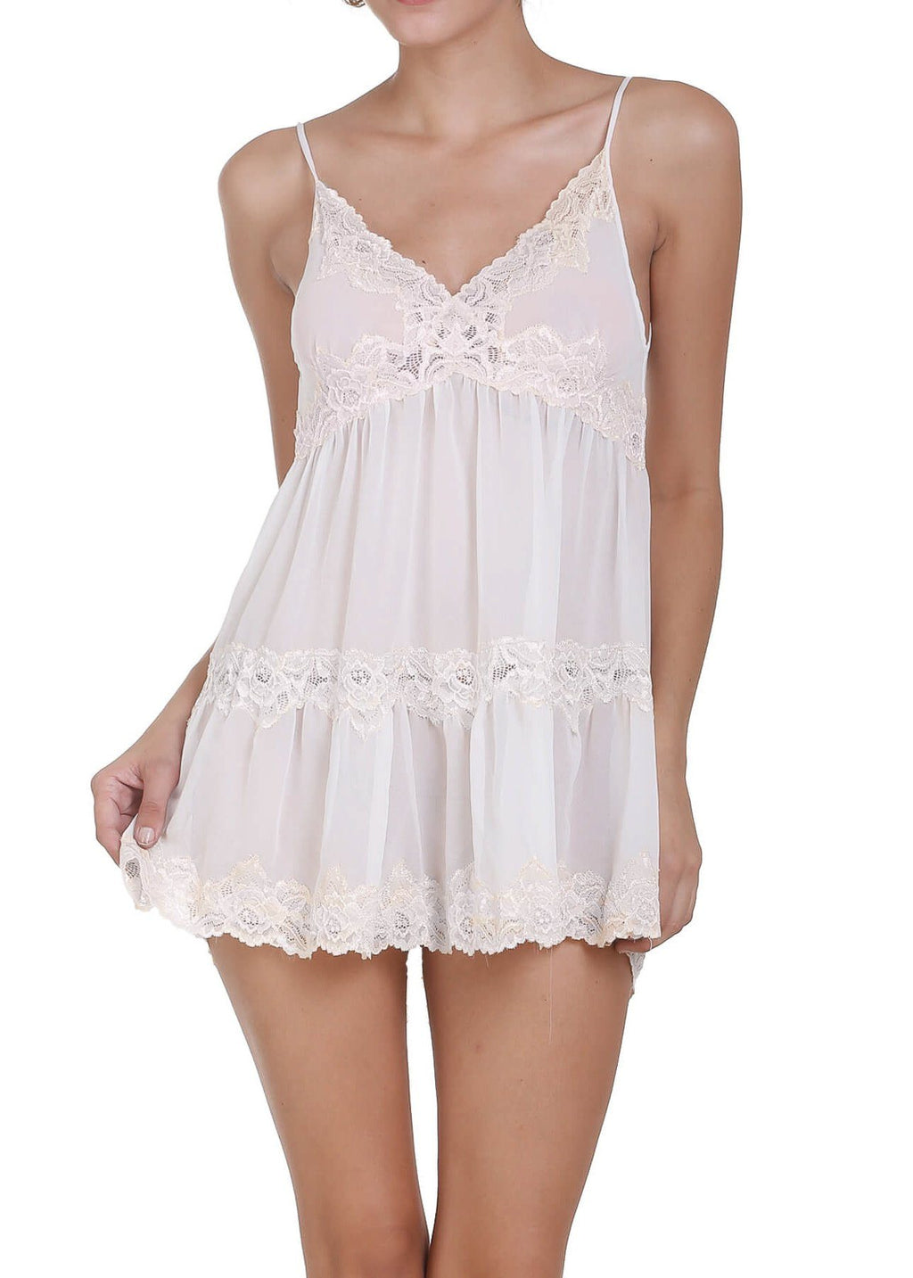 Sophie Chemise with Thong - White Mystique Intimates