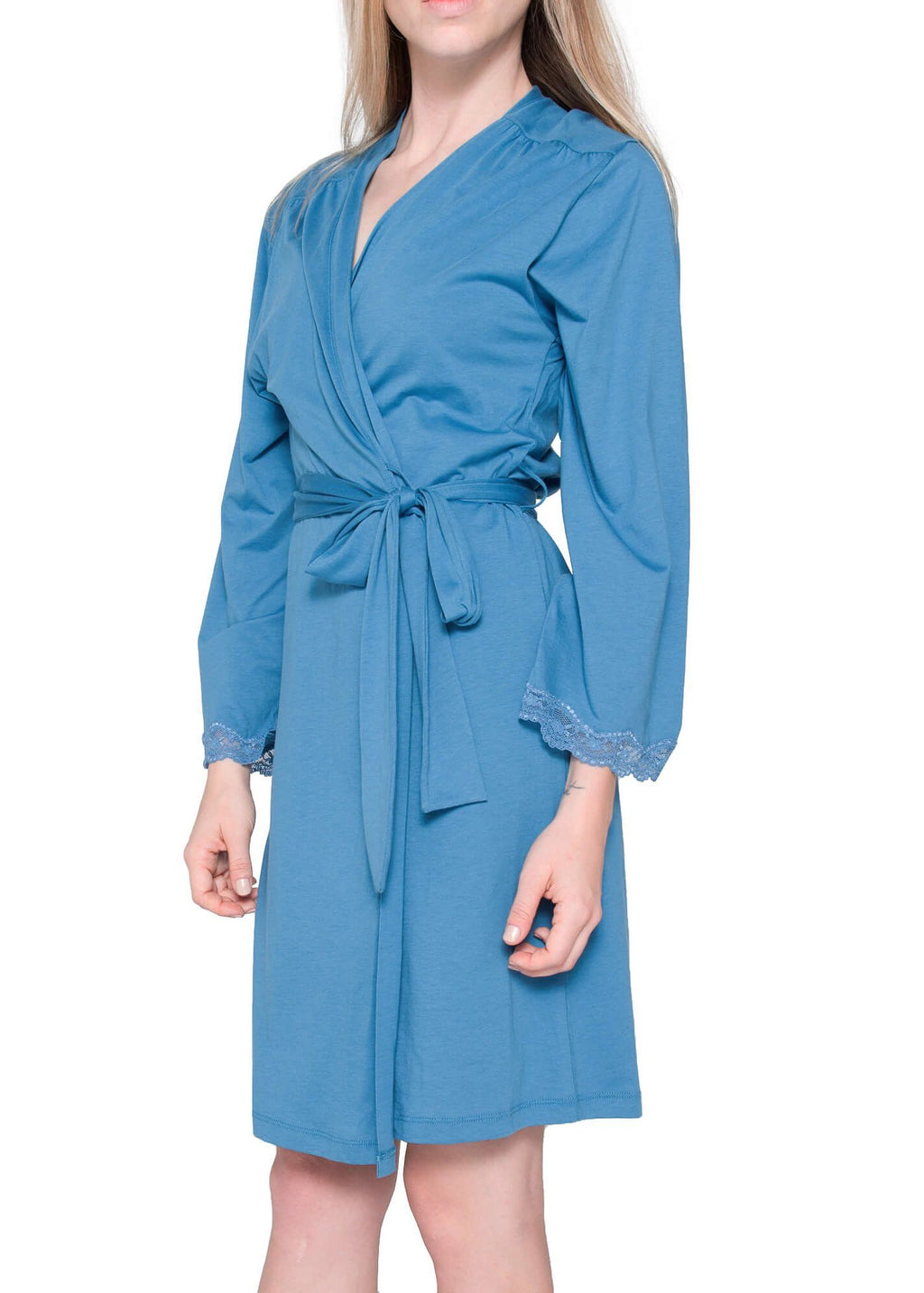 Carman Short Robe - Slate Blue Mystique Intimates