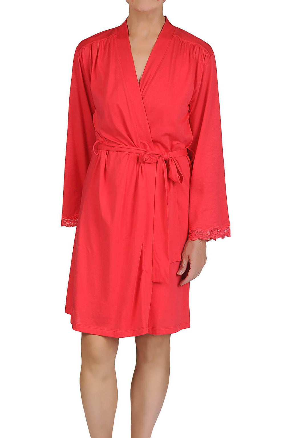 Carman Short Robe - Coral Red Mystique Intimates