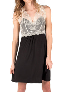 Catarina Knit Chemise Nightgown - Black with Ecru Lace Mystique Intimates