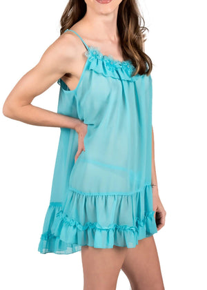 Sophie Sheer Babydoll - Blue Atoll Mystique Intimates