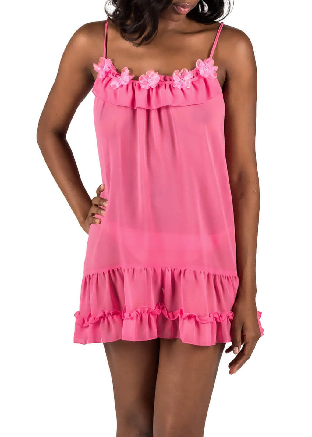 Sophie Sheer Babydoll - Pink Carnation Mystique Intimates