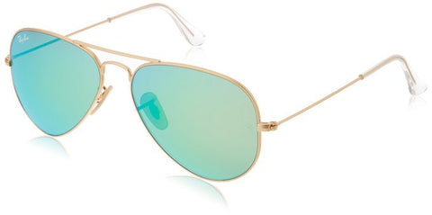 Ray-Ban Aviator 112/19 Aviator Sunglasses,Matte Gold/Crystal Green Mirror,55 mm