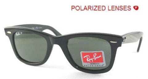 Ray-Ban RB2140 Original Wayfarer Sunglasses 54 mm,Black frame/Crystal Green P...