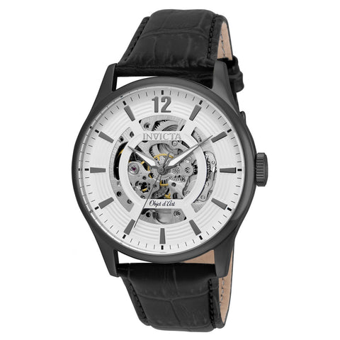 Invicta Men's Objet D Art Black Leather Band Steel Case Automatic White Dial Analog Watch 22597