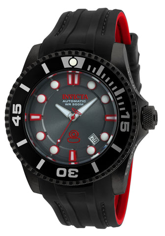 Invicta Pro Diver Automatic Black Dial Black and Red Silicone Mens Watch 20205