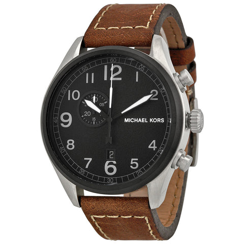 Michael Kors Men's Leather Casual Watch, Color:Brown MK7068