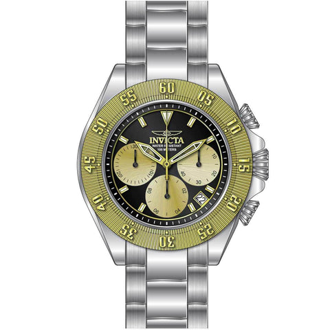 Invicta 22399 Men's Speedway Chronograph Black & Gold Dial Stainless Steel Bracelet Watch