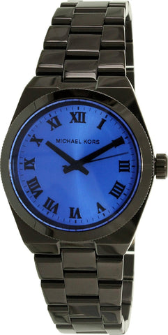 Michael Kors Channing Blue Dial Black Ion-plated Watch MK5993