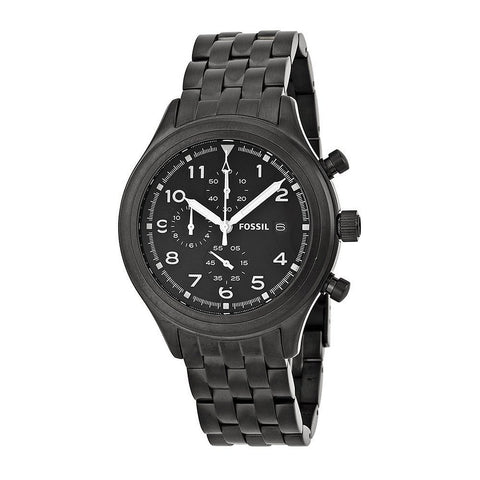 Fossil Compass Chronograph Stainless Steel Watch - Black Jr1439