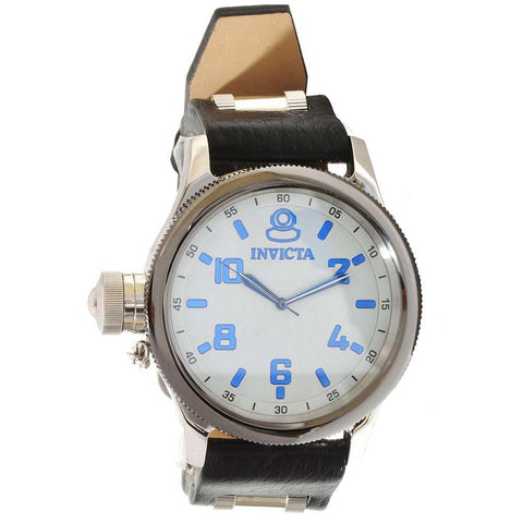 Invicta Men's 10470 Russian Diver Textured Dial Black Leather Watch