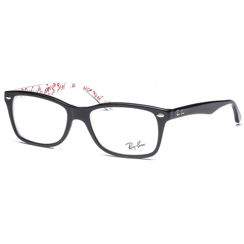 Ray-Ban Women's Rx5228 Square Eyeglasses,Top Black & Texture White,50 mm