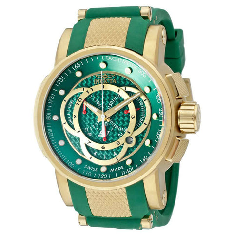 Invicta Men's 10565 S1 Rally Chronograph Green Carbon Fiber Dial Green Polyurethane Watch