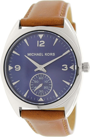 Michael Kors Callie Blue Dial Tan Leather Ladies Watch MK2372