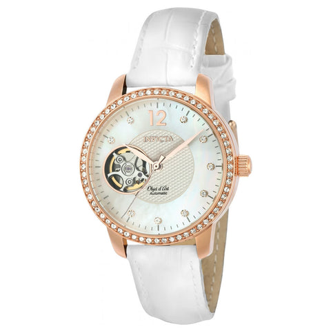 Invicta Women's Objet D Art White Leather Band Steel Case Automatic Analog Watch 22622