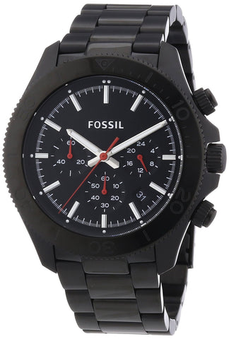 Fossil Retro Traveler Chronograph Stainless Steel Watch Black Ch2863