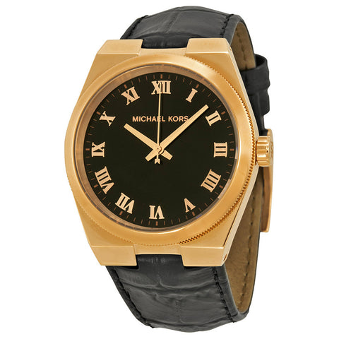Michael Kors Channing Black Dial Rose Gold-tone Unisex Watch MK2358