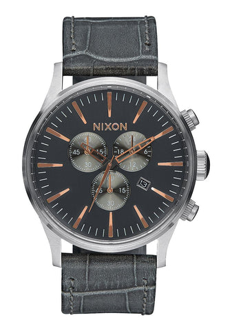 Nixon Men's A4052145 Sentry Chrono Leather Analog Display Japanese Quartz Grey Watch