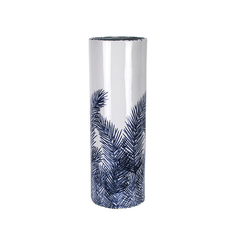 WIDE BLUE/WHITE FERN PATTERN CYLINDER VASE