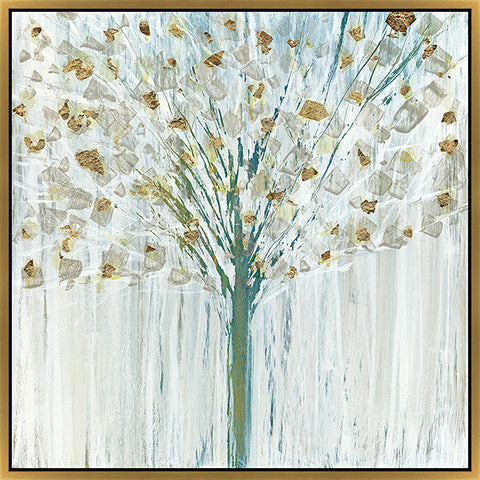 "Shimmering Leaves   38"" x 38""   Deep Floater Frame"