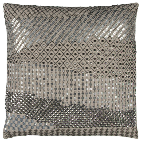 Grey Beaded Accent Pillow