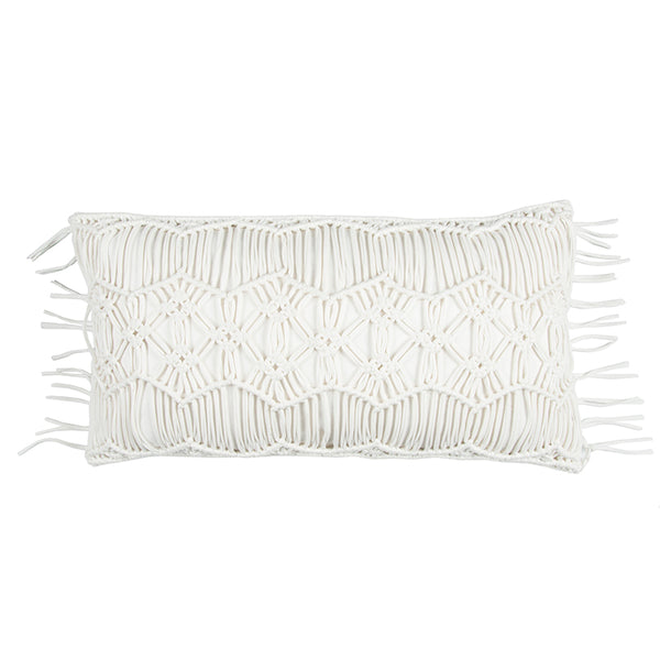 White Macramé Accent Pillow