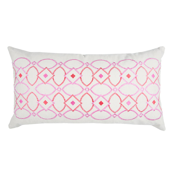 Pink and White Pillow