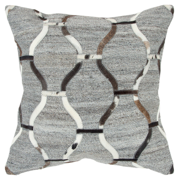 20-Inch Square Throw Pillow in Natural/Black