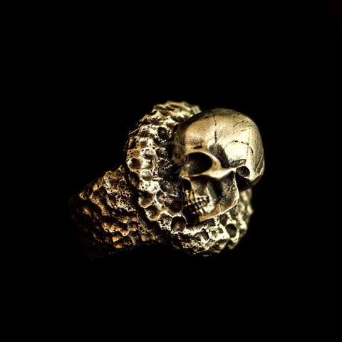 Brass Ring Dead sleep Skull Ring Brass Skull ring HTJ17