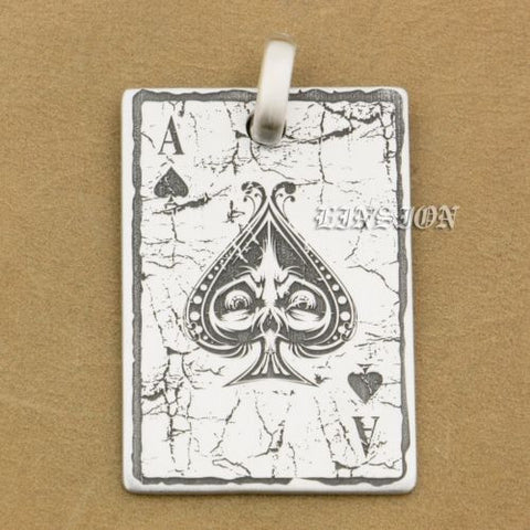 Deep Engraved High Detail Customize 925 Sterling Silver Spades A Pendant New Product - Bikers 4 Life Stuff - 1