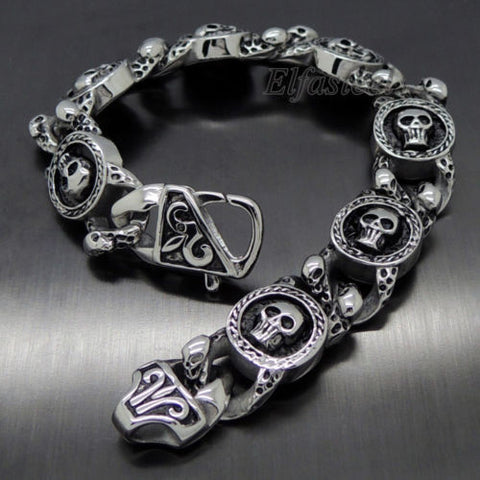 New MEN'S Silver Skulls 316L Stainless Steel Biker Chain Bracelet 8.5 New Product - Bikers 4 Life Stuff - 1