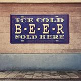 Retro Metal Car Plate Tin Sign Plaque ICE COLD BEER